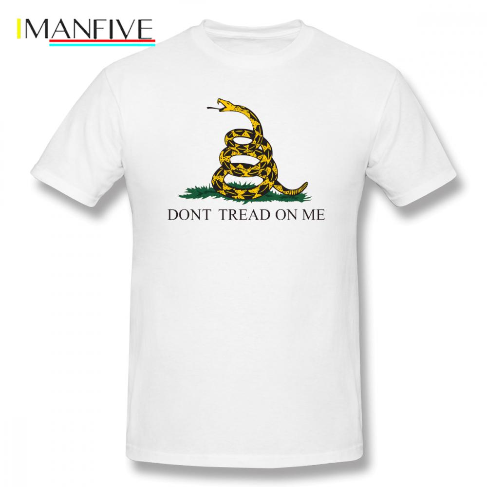 Dont Tread On Me Tee Shirt The Gadsden Flag T-Shirt Men Cartoon Print Oversized Tee Shirt Funny Male 100% Cotton Casual T Shirts