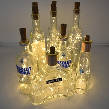 Wine-Bottle-Lights String Garland Cork Wedding-Decor Battery-Powered Copper-Wire LED
