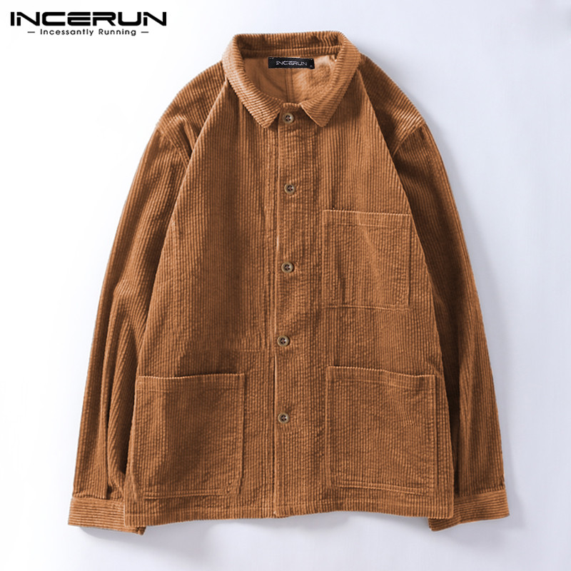 INCERUN Men Corduroy Jackets Fashion Single Breasted Long Sleeve Streetwear Outerwear Solid Color Vintage Casual Men Coats 2020