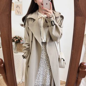 New Spring Autumn Long Women Trench With Belte Lady Khaki Dress Loose Coat Slim Outerwear Fashion fashion new women trench coat long double breasted belt blue khaki lady clothes autumn spring outerwear