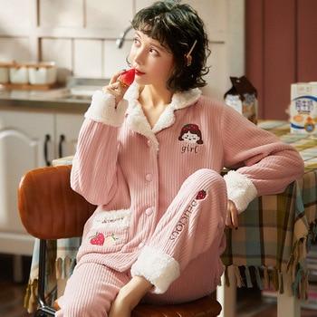 Women's Autumn And Winter Thickened Warm Flannel Girl's Homewear Cartoon Pajamas Set