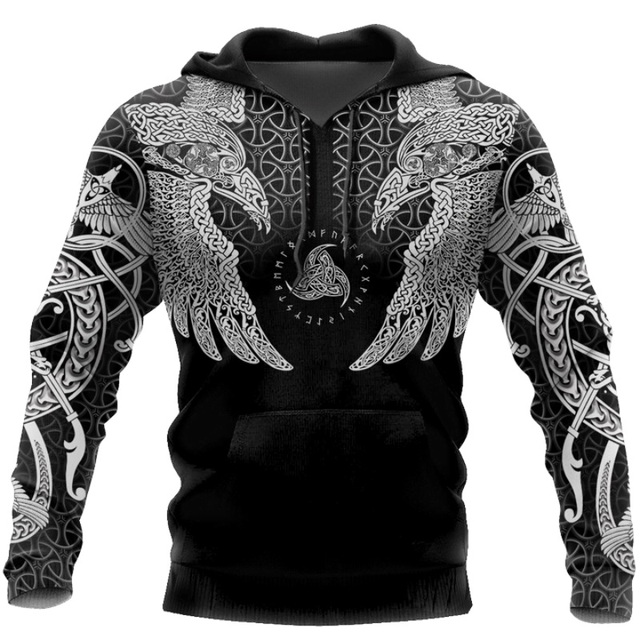 Viking Muninn Tattoo Raven 3D Printed Hooded Sweatshirt 2