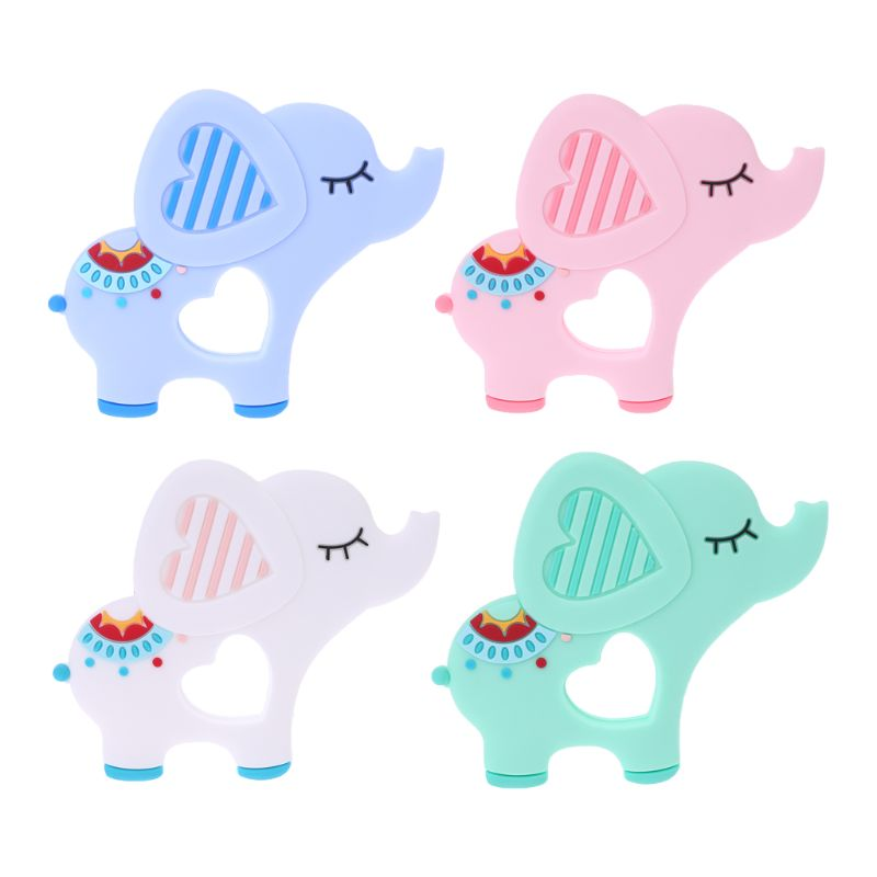Cartoon Cat Fox Elephant Shape Baby Silicone Teether DIY Pacifier Chain Stroller Accessories  Molars Soothing Silicone Teether