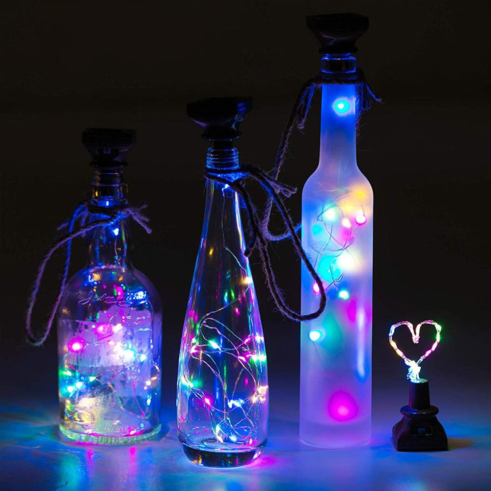 10/20 LED Solar Energy Wine Bottle Lights Cork Shaped LED Light Starry Light Lamp Decor Christmas Lights String Wire Lamps