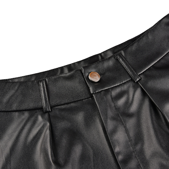 Women Leather Shorts England Style Bottoms Black Short Mujer Casual PU Leather Shorts feminino Sexy High Waist Shorts with Belt 4