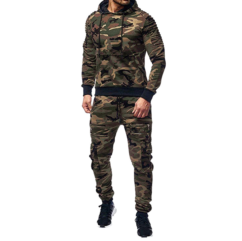 Men/'s Tracksuit Jogging Jacket Trousers Camouflage Army Sports Training