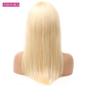 Image 4 - Perruques Lace Front wig brésilienne naturelle, cheveux lisses, blond 613, 10 28 pouces, pre plucked, 150%, fait Machine