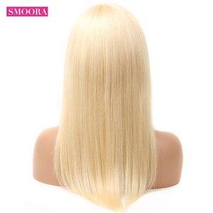 Image 4 - Smoora 브라질 스트레이트 중간 부분 레이스 프런트 인간의 머리가 발 613 금발 레미 투명 레이스 정면 가발 Pre Plucked 150%