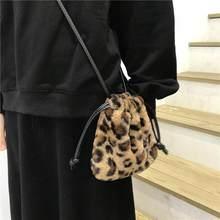Moda de pelúcia retro leopardo bolsa feminina inverno 2020 ombro mensageiro saco cordão mini bolsa bonito crossbody designer sacos