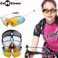 GOMGIRONA 1 セット 5 レンズ偏サイクリングサングラス抗 Uv アウトドアスポーツ乗馬自転車メガネ男性女性自転車ゴーグル眼鏡