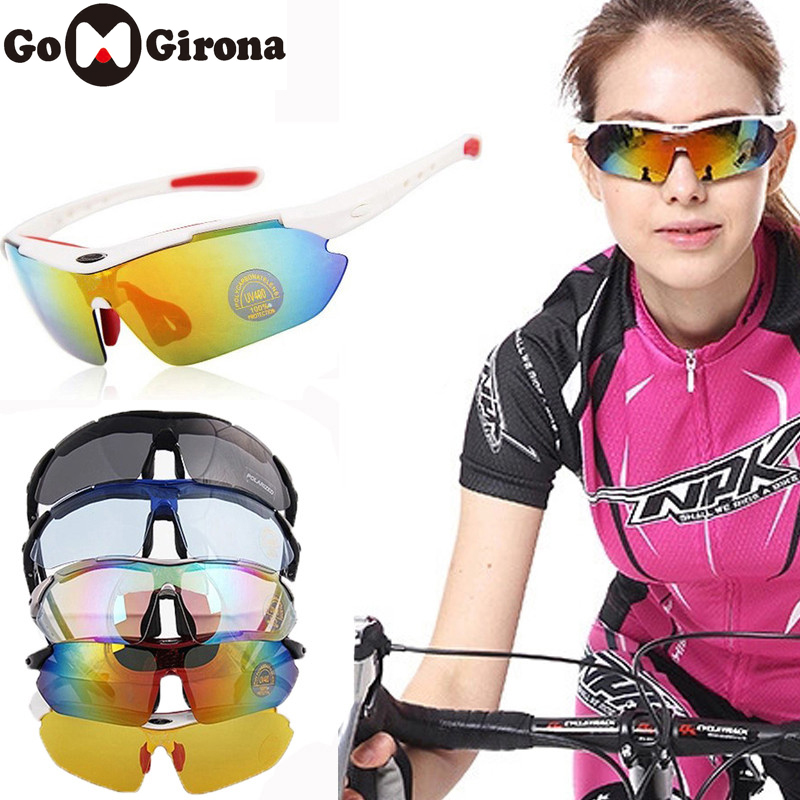 GOMGIRONA 1 Set 5 Lens Polarized Cycling Sunglasses Anti-UV Outdoor Sports Riding Bicycle Glasses Men Women Bike Goggles Eyewear
