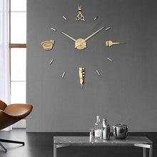 Relógio de parede 3d luminoso, grande relógio com design moderno, luminova, adesivo, espelhado, para cabeleireiro e barbeiro, corte de cabelo