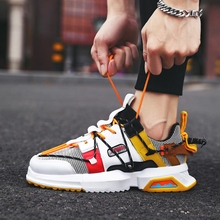Men Sneakers Running-Shoes Air-Cushion Comfortable Walking Mesh Heightened Outdoor Red