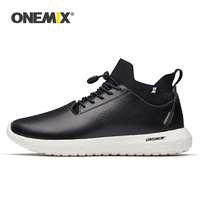 ONEMIX Men Running Shoes for Women Black Microfiber Leather Jogging Sneakers Outdoor Sport Socks Shoes Walking Socks Trainers