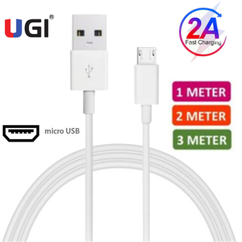 UGI 2A Fast Charging Cable Charge Lot For Samsung Huawei Xiaomi RedMi Oneplus+ Data Sync Transfer Cable 0.25M/1M/2M/3M PVC White image