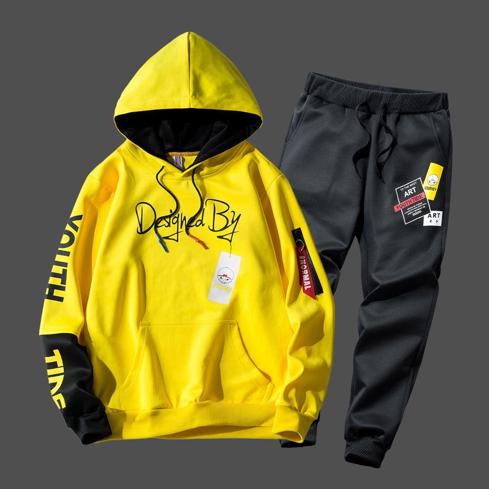 Fashion Hip Hop Sportswear Mens Two Piece Sweatshirt + Pants Sweat Set Casual Youth Track Suit Clothing Men Tracksuit Set
