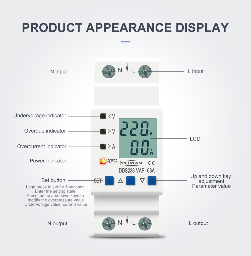 H9c19109c61934fe68d61600465b4dbe94 - 63A 80A 110V 230V Din rail adjustable over under voltage protective device current limit protection Voltmeter ammeter Kwh