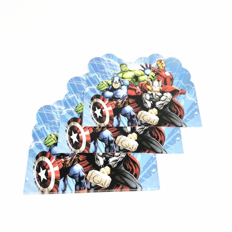 10 шт., вечерние приглашения в стиле мстителей, детские вечерние открытки на день рождения, украшения для детского душа, вечерние сувениры