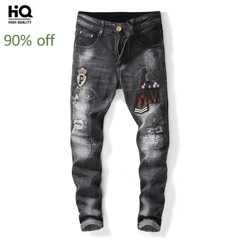 Spring 2020 New Vantage Washed Embroidery Straight Jeans Men Jeans Male Straight Denim Pants Man Casual Mid Waist Skiny Trousers