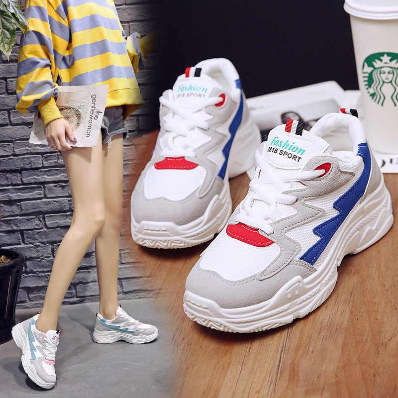 Frauen Komfortable Sneaker Schuhe Rosa Chunky Turnschuhe Plattform Keil Keile Schuhe für Frauen Zapatos De Mujer Casual Schuhe