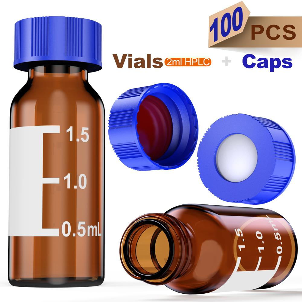 100 Pack Transparent Blue Screw Cap with Hole INTLLAB Autosampler Vial 2ml Hplc Vials