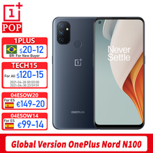 Wersja globalna Oneplus Nord N100 telefon komórkowy 6.52 cal 90Hz Snapdragon 460 Octa Core odblokowanie twarzą 13MP potrójne kamery z systemem Android 10
