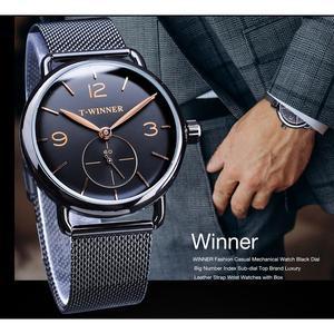Image 3 - Winner relojes mecánicos para hombre, correa de malla de acero inoxidable analógica, de cuerda a mano, delgada, Simple