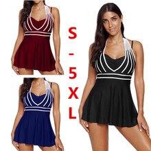 S-5XL Large Size Swimsuit Women's Halter Swimdress Plus Size Two Piece Swimsuit Tankini Set colorblock halter tankini set