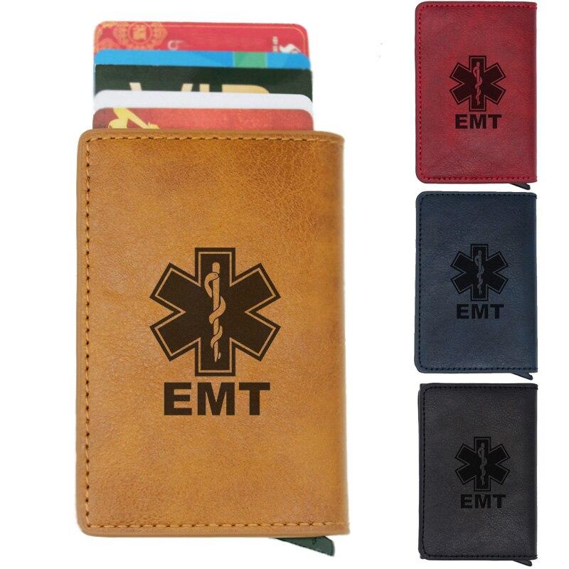 Classic Black EMT Emergency Medical Technician Rfid Card Holder Men Wallets  Vintage Short Purse Leather Slim Small Wallets