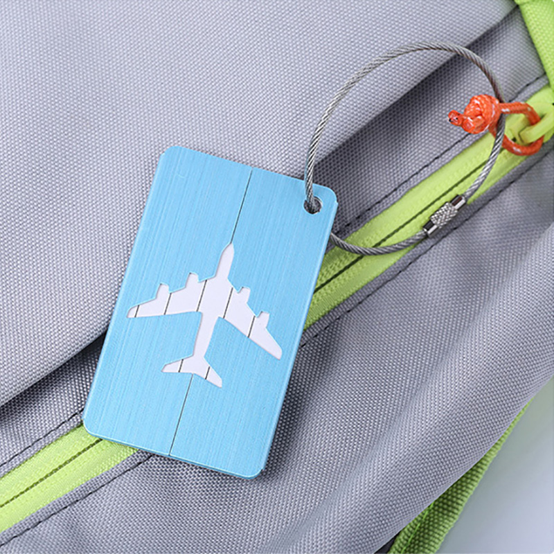 1pc Airplane Shape Brushed Square Luggage Tags Luggage Checked Boarding Elevators Travel Accessories Luggage Tag