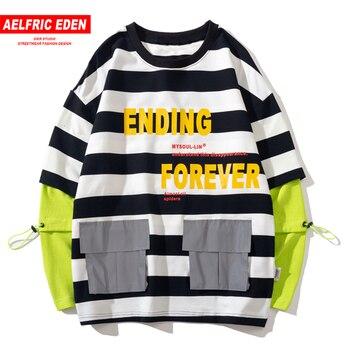 Aelfric Eden поддельные две части полосатые толстовки мужчины 2019 Harajuku уличная одежда Хлопок пуловер Мода хип-хоп с длинным рукавом