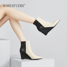 ROBESPIERE Women Wedges Boots Natural Leather Mixed Colors Ankle Boots Women Winter New Pointed Toe Zippers Western Shoes B85 цена 2017