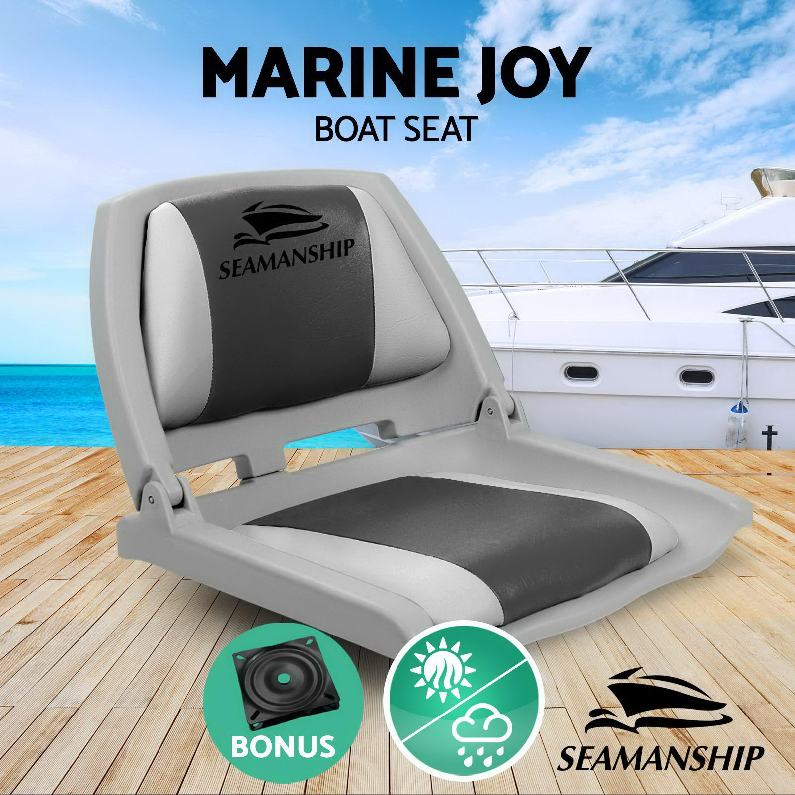 Seamanship Folding Swivel Boat Seat Plastic And UV Resistent PVC Boat Seat With Swivel Base Synthether Leather Backrest Chair