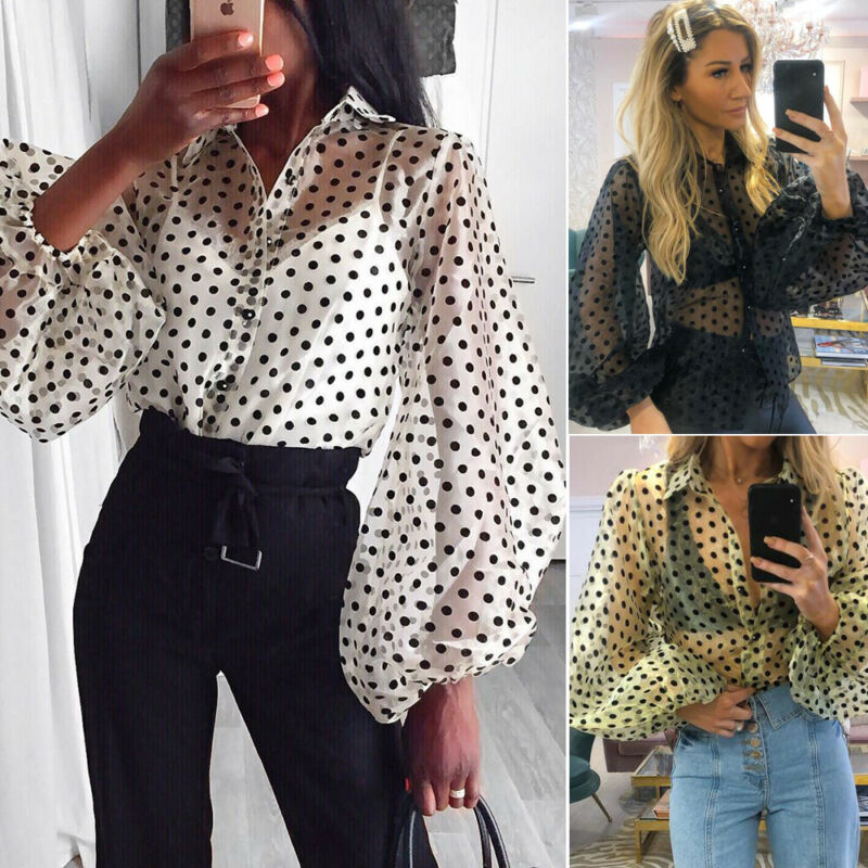 Fashion Women Sexy Blouse Chiffon Puff Sleeve Shirts Mesh Sheer Beading Polka Dot Blouse Femme Top Office White Blouse Outfits