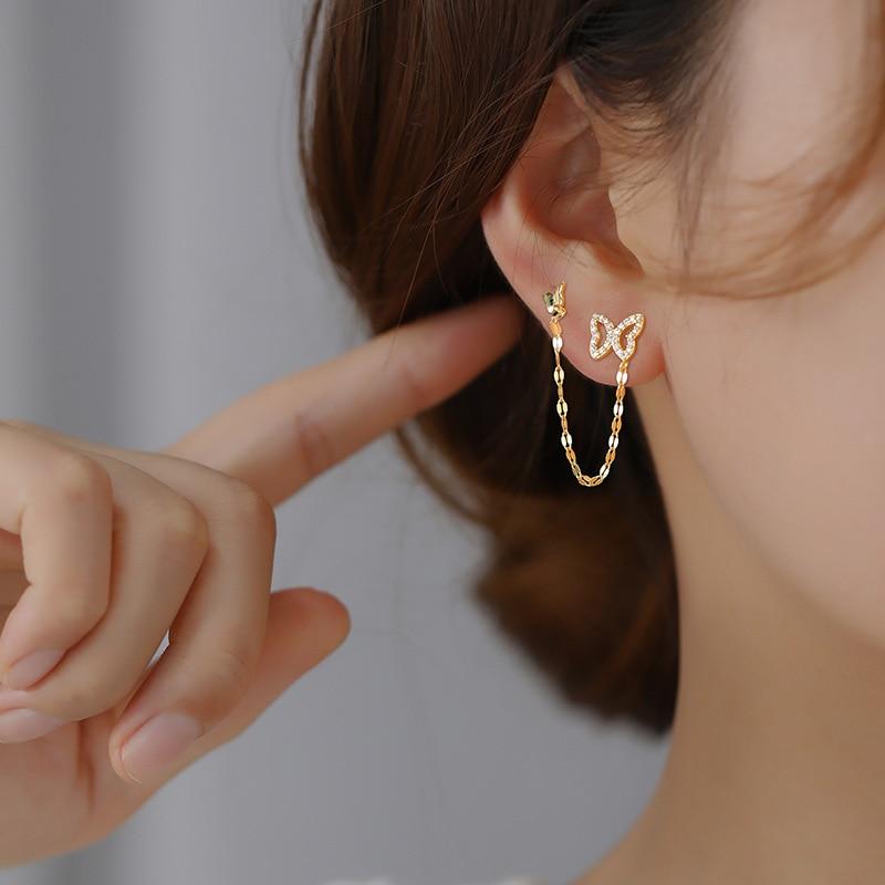925 sterling silver earring personality zircon double ear hole connection chain star stud earring two ear hole girl ear jewelry