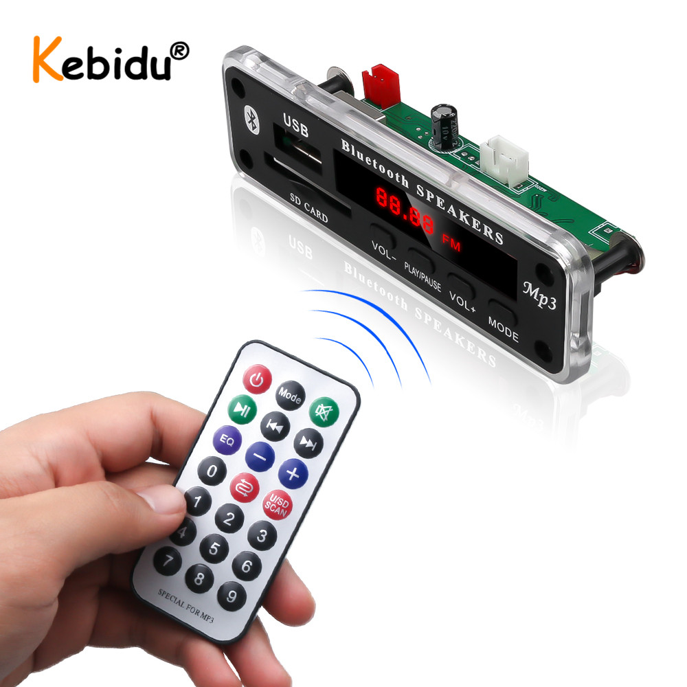 KEBIDU Wireless Bluetooth WMA MP3 Player Decoder Board Module USB TF Radio FM AUX Audio 3.5mm For Car Speaker for iPhone