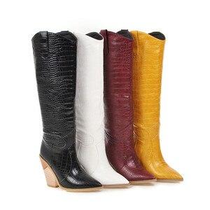 Image 4 - FEDONAS Botas occidentales de piel sintética para mujer, zapatos hasta la rodilla, para Club nocturno, de tacón grueso, talla grande, para invierno