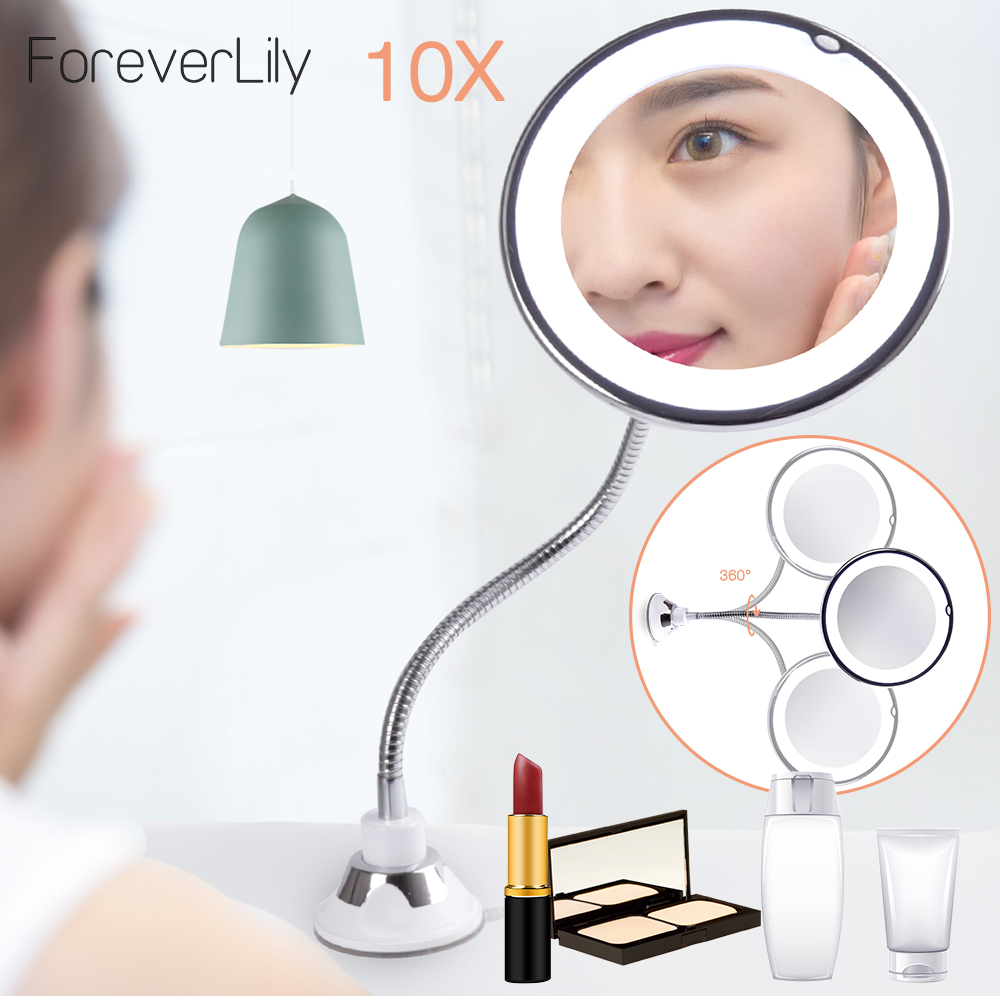 360 Swivel Magnifying Bright 10x Makeup Mirror With Led Light Adjustable Flexible Bendable Gooseneck Wall Mounted Shower Mirror