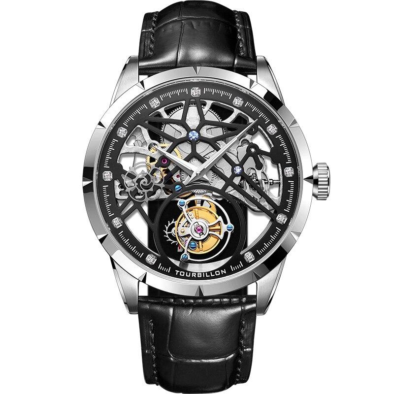 New Model GUANQIN 100% Original Tourbillon men watch top brand luxury double Skeleton Sapphire Relogio Masculino 8