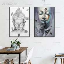 Статуя Будды холст живопись черно белый лук медитация современный