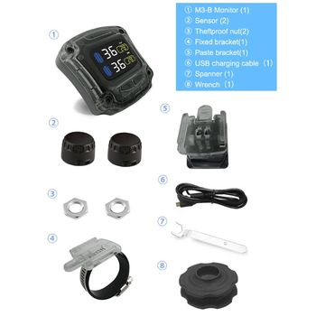 M3-B Wireless Motorcycle TPMS Real Time Tire Pressure Monitoring System Universal 2 External Internal Sensors LCD Display  Q84E