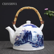 CHANSHOVA High Capacity 950ml Traditional Chinese Style Ceramic Tea Pot Bamboo Handle China Porcelain Large Teapot Kettle H070(China)