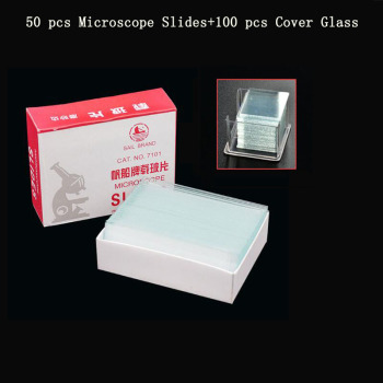 NewScope 50 pcs Microscope Slides and 100 pcs Cover Glass for Preparation of Specimen Microscope Slides Glass Cover Slips student compound microscope amscope supplies 40x 1000x glass optics metal frame student compound microscope slides