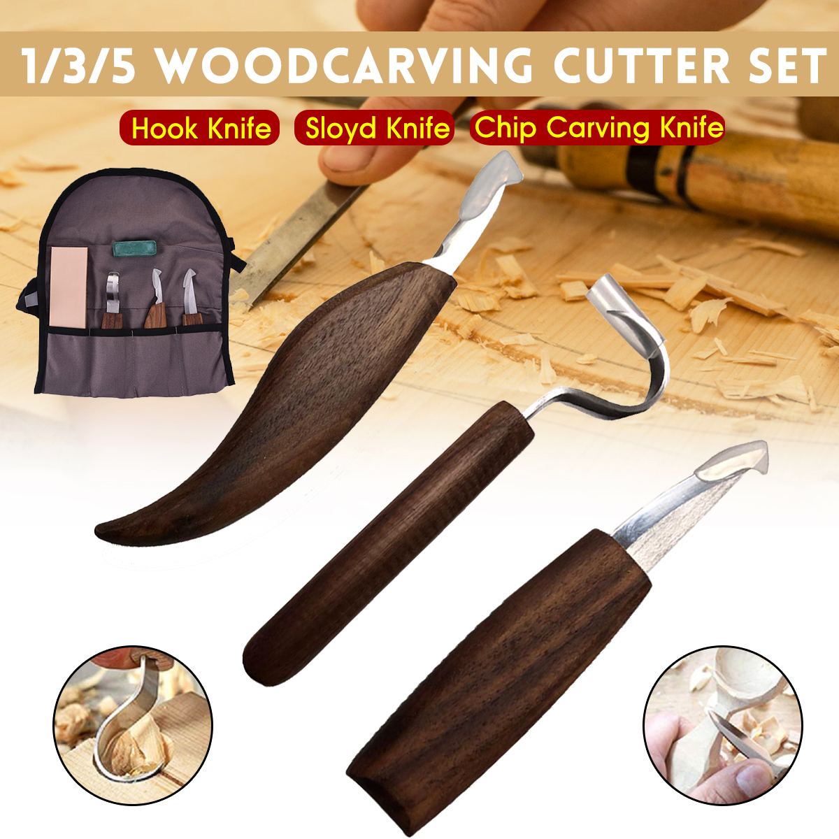 Doersupp 1/3/5Pcs Wood Carving Knife Chisel Woodworking Cutter Hand Tool Set Peeling Woodcarving Sculptural Spoon Carving Cutter