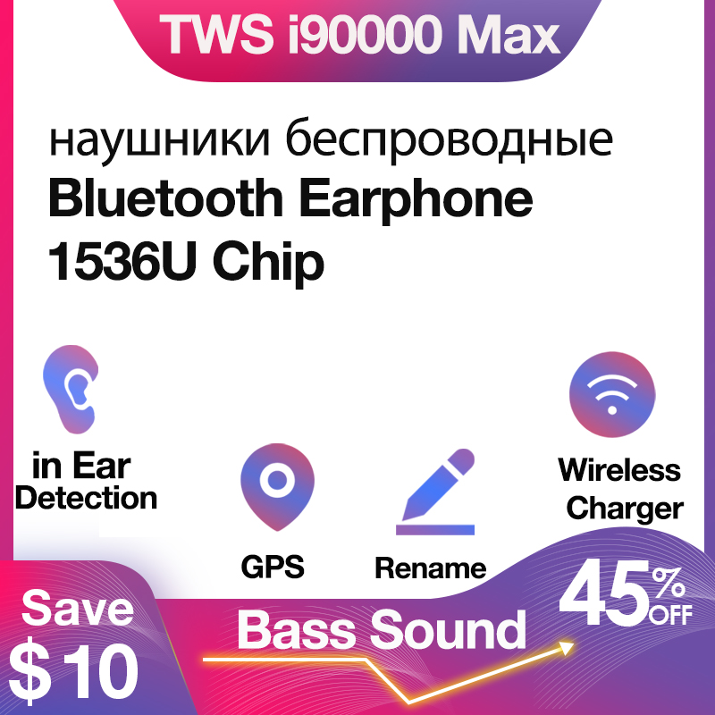 Original I90000 Max TWS Bluetooth Earphone Wireless Headphone Air2 In Ear Stereo Earbuds For Phone Bass Headset With I90000 Pro