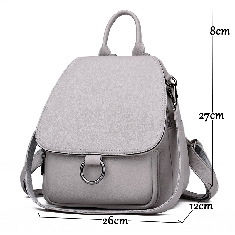 Image 2 - Gray Backpack for women 2019 Leather Backpack High capacity 