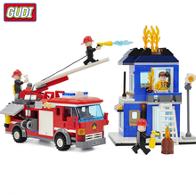 GUDI Blocks Large Fire Rescue Compatible Legoingly Building Block Station Helicopter Truck Toys For Children Boy Gift