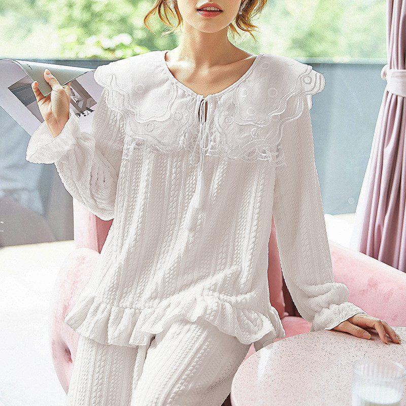 JULY'S SONG Flannel Women Pajama Sets Sleepwear Air Cotton Winter Pajamas Thick Warm Lace Long Sleeves Full Trousers Homewear 28