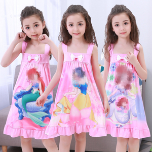 Anna Elsa Dress Girls Nightdress Clothes Summer Cartoon Nightgown Children Clothing Short Sleeved Pajamas Dress Kids Homewear(China)
