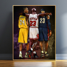 Kobe And Jordan And James Basketball Superstar Oil Painting On Canvas Wall Art Poster And Prints Picture For Fans Home Decor michael jordan dunk pose poster and prints basketball superstar wall picture on canvas wall art painting for living room decor